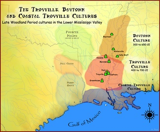 Map showing the geographic extent of the Baytown, Coastal Troyville and Troyville cultures
