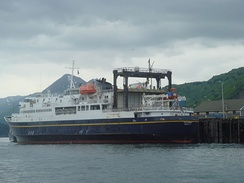 The ferryboat MV Tustumena is part of the Alaska Marine Highway. She can carry 210 passengers and serves Kodiak, Homer, Whittier, and the Aleutian Islands as far west as Dutch Harbor.