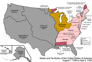 Map of the states and territories of the United States as it was on August 7, 1789, when the Northwest Territory was first organized, to April 2, 1790, when the future Southwest Territory was ceded by North Carolina