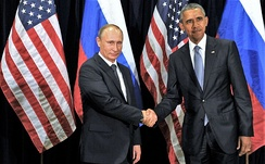 Putin meets with U.S. President Barack Obama in New York City, 29 September 2015