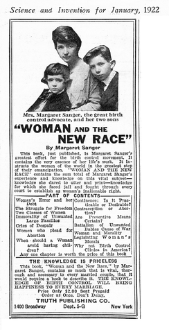 "An advertisement for a book entitled ""Woman and the New Race"". At the top is a photo of a woman, seated affectionately with her two sons."