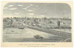 View of Victoria from James Bay in 1862. The city was incorporated that year as a result  of the Fraser Canyon Gold Rush.