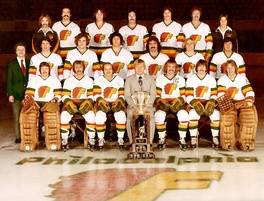 The 1976-77 Philadelphia Firebirds with the Lockhart Cup.