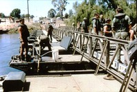 Photograph of Light Assault Floating Bridge constructed by 9 Troop