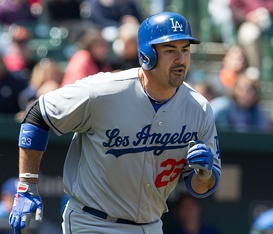 Adrian Gonzalez was the National League player of the month for April