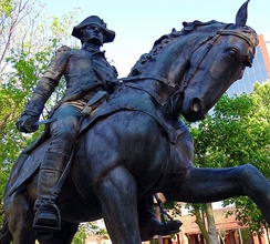 "A statue of General ""Mad"" Anthony Wayne, namesake of the city, stands in Freimann Square."