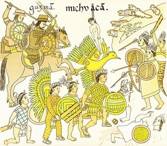 Nuño de Guzmán, a rival of Cortés, led Spanish soldiers with Tlaxcalan allies in the conquest of Michoacan.