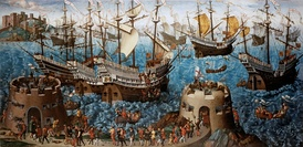 Depiction of Henry embarking at Dover, c. 1520