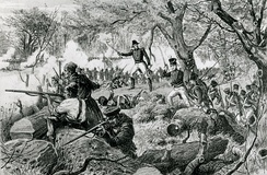 Canadian Voltigeurs in action at the Battle of the Chateauguay