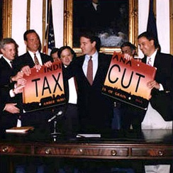 As governor, Bayh implemented a $1.6 billion tax cut, the largest in state history, before Governor Mike Pence implemented one larger in 2013