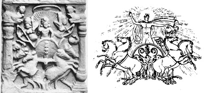 Left: Surya on a quadriga, Bodh Gaya relief, India. Right: Classical example of Phoebus Apollo on quadriga.