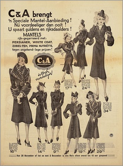 1938 Dutch newspaper advertisement for women's clothing sold at C&A stores
