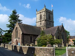 "St Laurence's Church – the town's ancient parish church, which distinguished the town from the two neighbouring settlements called Stretton, giving the town its ""Church"" affix"
