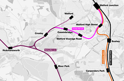 Outline map of the changes to be brought about by the Croxley Rail Link