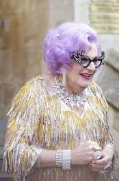 Dame Edna Everage, comic creation of Barry Humphries, had her stage debut in Melbourne in the 1950s and has featured at the West End and Broadway.