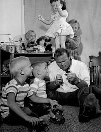 Blocker with his four children, circa 1960s
