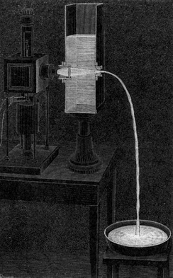 "Daniel Colladon first described this ""light fountain"" or ""light pipe"" in an 1842 article titled ""On the reflections of a ray of light inside a parabolic liquid stream"". This particular illustration comes from a later article by Colladon, in 1884."