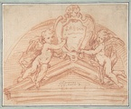 18th century design for a pediment with a pair of putti, in the Metropolitan Museum of Art