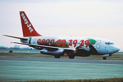 A former EasyJet Boeing 737-200 seen at Zurich Airport in January 1997.