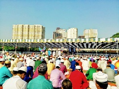 An urban congregation for Eid-ul-Adha prayers in Dhaka.