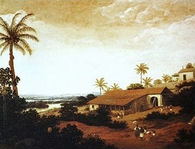 View of a sugar-producing farm (engenho) in colonial Pernambuco by Dutch painter Frans Post (17th century).