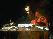 Artist depiction of Saint Paul Writing His Epistles, 16th century (Blaffer Foundation Collection, Houston, Texas). Most scholars think Paul dictated his letters to a secretary.[43]