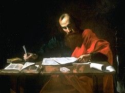 Saint Paul Writing His Epistles, 17th-century painting. Most scholars think Paul actually dictated his letters to a secretary.