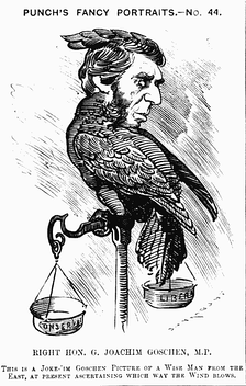 "Caricature from Punch, 13 August 1881: ""This is a Joke-'im Goschen Picture of a Wise Man from the East, at present ascertaining which way the wind blows"""