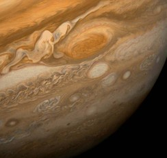 A narrower view of Jupiter and the Great Red Spot as seen from Voyager 1 in 1979