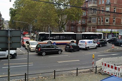 Gridlock on Kaiser-Friedrich-Ring, Wiesbaden, Germany. Vehicles on three lanes blocking each others way.