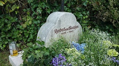 Karajan's headstone in the graveyard of the Heiliger Oswald church in Anif, Austria, just outside Salzburg