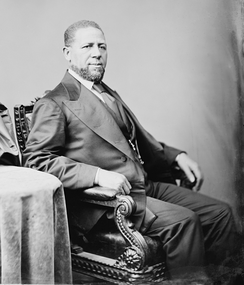 Hiram Revels, the first African American Senator, elected in 1870 from Mississippi. One other black Senator, Blanche K. Bruce, was elected from the same state in 1874.