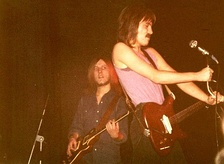 Clem Clempson (rear left) and Marriott in a 1972 performance with Humble Pie