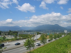 Off and on-ramps leading to British Columbia Highway 1 in Vancouver. Highway 1 is the only controlled-access highway within the city limits.