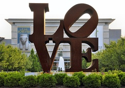 Robert Indiana's iconic LOVE at the Indianapolis Museum of Art.