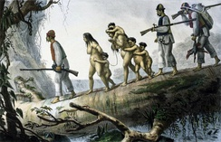 A Guaraní family captured by Indian slave hunters. By Jean Baptiste Debret