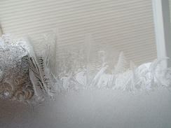 Jack Frost pattern on window in Gatineau, Quebec