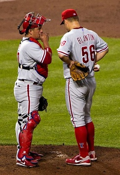 Ruiz (left) built a rapport with many members of the Phillies' pitching staff, as starting catcher.[59]