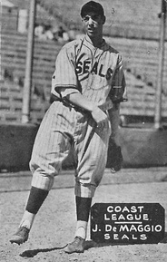 A baseball card of DiMaggio when he played for the San Francisco Seals, circa 1933–36.