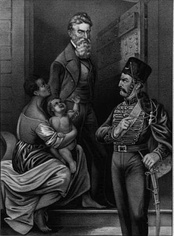 Idealized portrait of John Brown being adored by an enslaved mother and child as he walks to his execution.