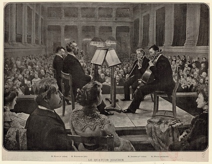 The Joachim Quartet performing in the Sing-Akademie zu Berlin—an engraving based on a painting (currently lost) by Felix Possart, published as a Beilage to the Zeitschrift der Internationalen Musikgesellschaft 4/5 (1903), between pp. 240 and 241.