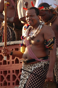 King Mswati III at the reed dance festival where he will choose his next wife