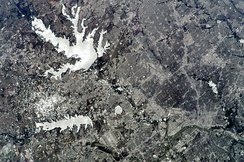 Lewisville Lake, as seen from space in 2009.