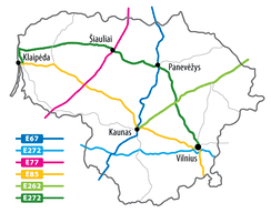 Major highways in Lithuania
