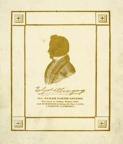 Mid 19th century memorial card for Reverend Elijah Parish Lovejoy with silhouette