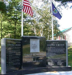 Memorial to Edmund Muskie in his birthplace of Rumford, Maine.