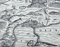 Upper Lake Zürich and its medieval central municipality Rapperswil on Murerplan (1566)