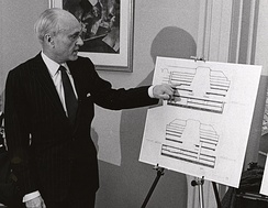 Johnson with plans for his Boston Central Library addition