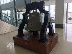 Liberty Bell replica using LEGO bricks in Terminal A West
