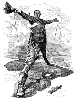 The Rhodes Colossus, a caricature of Cecil Rhodes after announcing plans for a telegraph line from Cape Town to Cairo. European countries were engaged in a Scramble for Africa.
